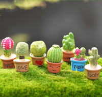 Wholesale Bonsai Cartoon - 7pcs Kawaii Cactus Flower Pot Fairy Garden Terrarium Statue Miniatures Bonsai Tools Resin Craft Gnome Zakka Dollhouse Home Accessories
