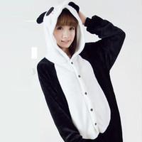 Wholesale One Piece Panda Costumes - Adult Kids Animal Pajamas Panda One Piece Unisex Costume Cosplay Onesies Sleepwear Warm Fleece Pajamas Sets For Men Women