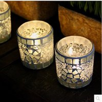 Wholesale Glass Candle Holders Stand - Silver White Color Candler Modern Mosaic Glass Candle Holder Bar Western Restaurant Decor Candlestick Simple For Gift 8yy B R
