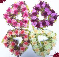 Wholesale Heart Wreaths Wholesale - 3pcs Romantic Heart Rose Steam Wreath Blossoms Ribbon For Wedding Home Bridal Office Decoration
