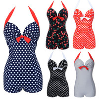 Wholesale Swimsuits Bows - 2016 New Hot Sexy Swimwear Women Vintage Style One piece Dot Swimwear Print Bow knot Sweetheart Swimsuit Strappy Plus Size M~4XL
