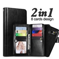 Wholesale Galaxy Note Detachable Case - For Galaxy S8 Plus 2 in 1 Wallet Leather Case Cover With Magnetic Detachable Slots Phone For Samsung S6 S7 edge Note 5