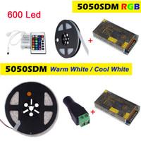 Wholesale Led Tube Casing - 5M 120LEDs m Double Row SMD 5050 LED Strip RGB warm white cool white flexible Light 12V Casing Tube Led Diode Tape +150W Adapter