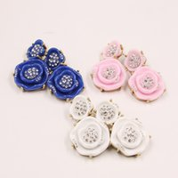 blue and white diamond earrings - Roses diamond stud earrings eardrop pink blue and white