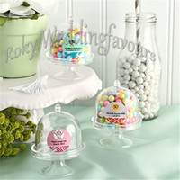 Wholesale Decoration Cake Boxes - FREE SHIPPING 50PCS Acrylic Clear Mini cake Stand Wedding Favors Party Gifts Birthday Favors Holders Candy Boxes Party Decoration Gifts