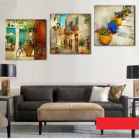 Wholesale Garden Oil Paintings - 3 panels oil canvas paintings gardening Home decoration wall art canvas painting decorative wall pictures (No Frame)
