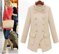 Wholesale Pink Coat Double Breasted - Wholesale-UK Brand New 2016 Winter Pink Beige Navy Double breasted Woolen Coat with Large Pockets Female Long Outerwear casaco feminino