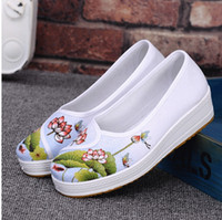 Wholesale Breathable Work Shoes For Woman - 2017 new old Beijing cloth shoes hospital white canvas working shoes the platform of a platform for the lazy person a shoe