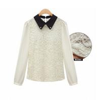 Wholesale Peter Pan Blouses - Wholesale-New spring 2015 plus size renda blusas femininas peter pan collar long puff sleeve lace chiffon shirt blouse tops for women