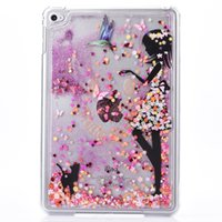Wholesale Ipad Mini Girl - New Fashion Little Girl Dynamic Liquid Glitter Sand Quicksand Star For Apple Mini Ipad 4 Case Crystal Clear phone Back Cover