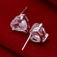 Wholesale Heart Shaped Diamond Earrings Studs - brand new Heart-shaped diamonds sterling silver plated jewelry Necklace for women DN087,popular white gemstone 925 silver earrings