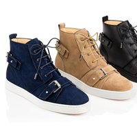 Parti Hommes Cadeau Chaussures Luxe Red Sole Sneakers Mono Strap Black Blue Suede Matte Red Bottom Bottes Sneaker Flat Monostrap Zipper