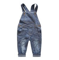 Wholesale Denim Jumpsuit 12 - New Arrival Baby Boys Girls Spring&Autumn Solid Denim Jumpsuits Cute Kids Hemming Overalls Children Brand Jeans Pants Infantil