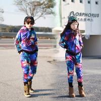 Wholesale Hip Hop Suits Girls - Girls Tracksuit Kids Hooded sports Clothing Sets Star Sky Dot Tops Harem Pants Children Navy for 4-12 Ages Hip-hop Sport Suit