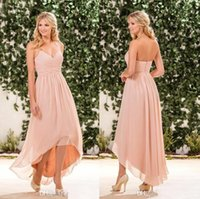 Wholesale Beach Bridesmaid Halter Dresses - Blush Pink Chiffon High Low Bridesmaid Dresses Cheap Halter Pleats Back Zipper Long Beach Country Garden Maid Of Honor Gowns CPS578