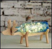 Wholesale Glass Jars Wood - Xmas Elk LED Glass bottle Wood Base Illusion Night Touch Switch Table Light Lamp LLWA304