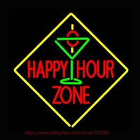 Großhandel - Happy Hour Zone mit Martini Neon Zeichen Neon Birne Led Schilder Real Glas Tube Handcrafted Erholungsraum Windows Iconic Zeichen 24x24