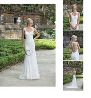 Wholesale Simple Garden Sheath Wedding Dress - Sleeveless Sweetheart Neckline Lace Appliques Lace Sheath Custom Made 3885 N23 2016 Sincerity Bridal Dresses Wedding Gowns