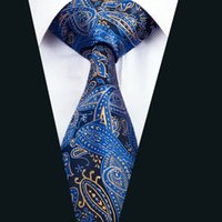 Wholesale Meeting Quality - Classic Silk Necktie Blue Paisley Tie High Quality Mens Ties Jacquard Woven Business Wedding Meeting Party Prom Free Shipping D-1447
