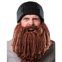 Wholesale Europe beard wool hat creative personality funny knitted hat warm winter cap