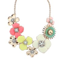 Wholesale Exaggerate Resin Necklace - New Arrival Exaggerated Choker Necklace Big Wildflower Sweet Necklace Fashion Women Jewelry Statement Cute Candy Color Necklaces