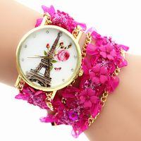 torre de relógio de pulseira venda por atacado-2016 rendas pulseira relógio dos desenhos animados meninas rose flor Torre Eiffel relógios AMOR moda feminina cadeia pulseiras vestido casual relógios de quartzo