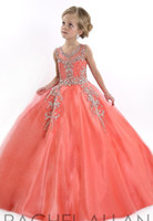 Wholesale Girls Pageant Dress Coral - New party 2016 Little Girls Pageant Dresses Princess Tulle Sheer Jewel Crystal Beading White Coral Kids Flower Girls Dress Birthday gowns
