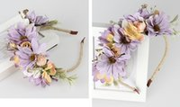 Lady Girls Bride Imitation Fleur Headband Floral Head Wreath Femmes Beach Headband Floral Hair Garlands Bohemia Beach Flower HairBands BD047