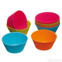 ingrosso muffin stampi vendita-Vendita calda! Muffin di silicone di forma rotonda Muffa di muffa Caso di Bakeware Maker Mold Tray Cup Liner Baking Moulds