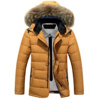 Wholesale Parka Style Waterproof Jacket - Wholesale- New style 2016 Thick Warm Winter duck Down Jacket for Men Waterproof Fur Collar Parkas Hooded Coat high quality Western style