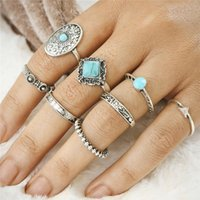 Bijouterie En Pierre Pas Cher-2017 Vintage 8pcs / Set Alloy Boho Punk Nature Stone Bohemian Rings Sculpté Retro Round Ring Femmes Ethnique Beach Jewelry D22S