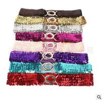 Elasticated Sequined Ladies Belts Elastic Cintura Stretch Metal Buckle Girls Fashion Bling Cintura 7 cores