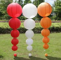 Wholesale Chinese Paper Balls - no2 10pc lot 6-16''15-25-30-35-40cm Tissue Rice Paper Chinese Lantern Can Children DIY Lampion Ball Wedding Outdoor Party Decoration