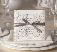 Wholesale Beige Wedding Invitations - Wedding Invitations Cards Personalized Printable and Customizable Ribbon Wholesale Wedding Cards Party Cards With Envelope and Seal