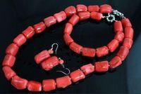 brincos de colar de coral vermelho venda por atacado-Natural Red Coral Bead Cilindro Gargantilha Colar Pulseira Brinco Conjunto de Jóias