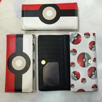 Wholesale Japanese Anime Wallets - Poke mon Poke Ball Japanese Anime Pocket Monster PU Leather Long Zipper Purse Card Holder Clutch Wallet