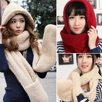 Wholesale Cheap Hats Gloves - Wholesale-Fashion Winter Hat and Scarf Set for Women Gloves Brand Scarf Women Men Lamb Wool Bandelet,Cheap Mens Scarves Free Shipping