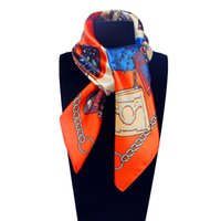 Wholesale Small Square Polyester Scarves - 60cm*60cm Women New Fashion Imitated Silk Euro Design Bag and Chain Printed Small Square Scarf Hot Sale