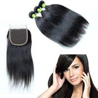 weave bundles closure toptan satış-Brezilyalı bakire saç örgü kapatma ile 4 adet / grup İnsan saç paket dantel kapatma Doğal Renk Boyanabilir düz brezilyalı saç kapatma