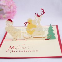Wholesale christmas cards santa - Santa Claus Christmas Greeting Cards 3d Carved Paper Cards 50pcs  Lot Free Shipping