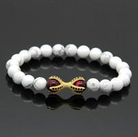 Discount howlite silver bracelets - Wholesale 10pcs lot White Howlite Marble Stone Tiger Eye Beads Micro Inlay Black CZ Beads Eagle Paw Charms Bracelets