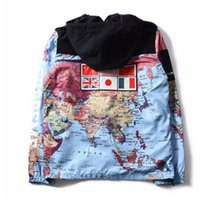 Wholesale Pocket World - 2017 new fashion clothing Flag mosaic military world Map Jacket Reflective jackets coats Male Windbreaker Coat Hooded embroidery outerw