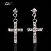 Wholesale Dangle Diamond Cross Earrings - Elegant Cross CZ Diamond Party Drop Earrings Wholesale 18K Rose Gold Platinum Plated Punk Wedding Jewelry For Women DFE373   DFE328