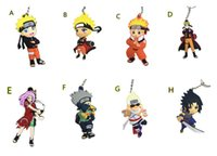 Wholesale Rings Naruto - 100pcs lot Anime Cartoon Naruto Character Uzumaki Kakashi Sasuke Sakura figure Pendant with Ring PVC Rubber keychain Anime cartoon accessory