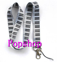Wholesale Wholesale Piano Gifts - Free Shipping 20pcs White Music Piano Pattern Popular Mobile Phone card lanyard neck straps Gifts