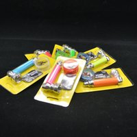 Wholesale Gift Candy Glass Box - Smoking set small metal pipe with plastic grinder candy colors also offer glass water pipe wooden pipe glass bong bongs fashion