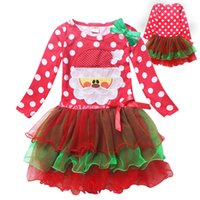 Wholesale Long Embroidered Skirts - 2016 new baby girls long sleeve christmas tutu skirts polka dots children X'mas dress kids tired dresses children holidays clothing