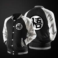 Wholesale fleece button jacket - New Japanese Anime Dragon Ball Goku Varsity Jacket 2017 Autumn Fashion Black White Sleeve Fleece Baseball Jacket Sweatshirt Coat
