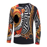 Wholesale Dog Chain Long - wholesale HOT 2018 winter Harajuku Medusa gold chain Dog Rose print shirts Fashion Retro floral sweater Men long sleeve tops sweater