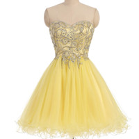 Wholesale Top Little Girl Dresses - 2018 Short Prom Dresses Homecoming Gown for Junior Girl In Stock Full Beads Crystals Top Yellow Tulle Real Image Zipper Back Party Gowns
